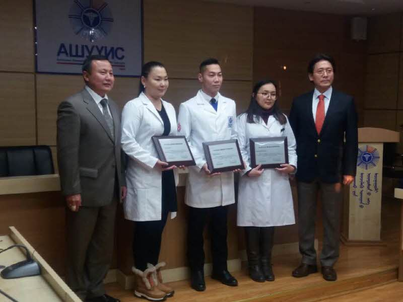 Dr. Choi presented scholarship certificate to Mongol college students Attachments : 1563159238.jpg
