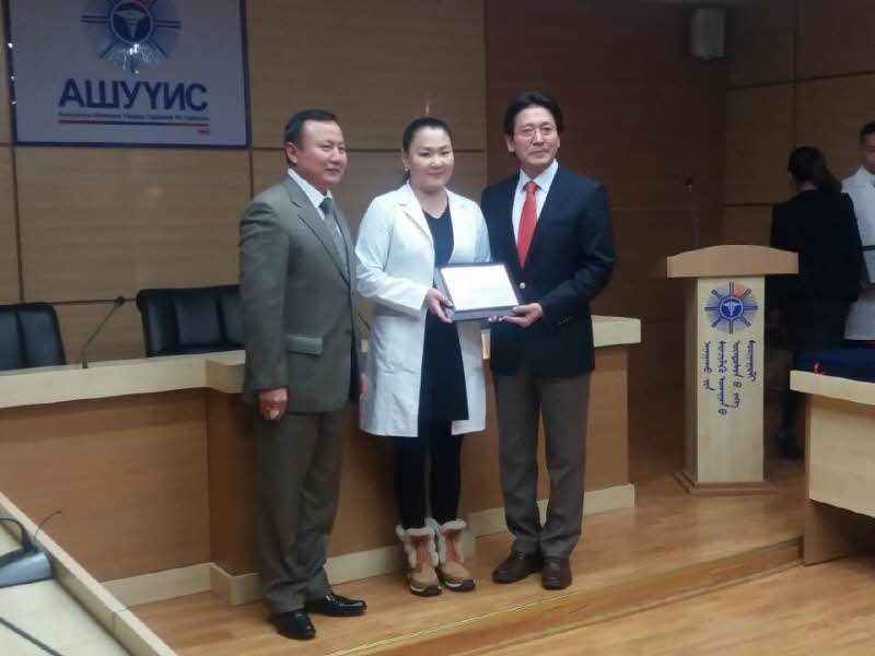 Dr. Choi presented scholarship certificate to Mongol college students Attachments : 1563159239.jpg