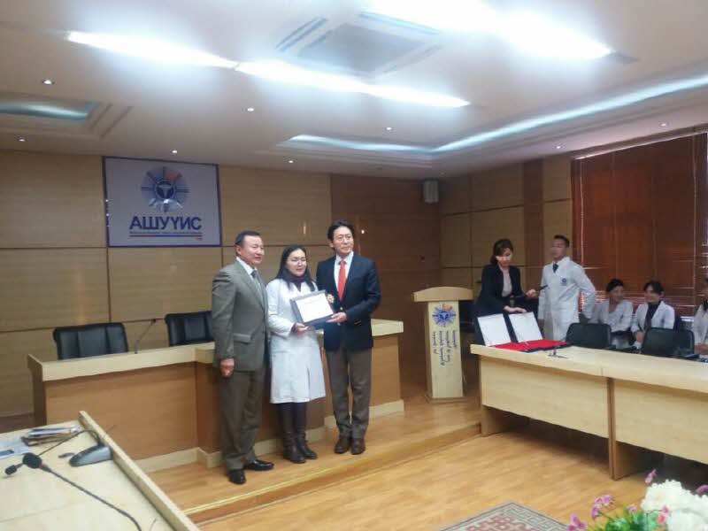 Dr. Choi presented scholarship certificate to Mongol college students Attachments : 1563159240.jpg